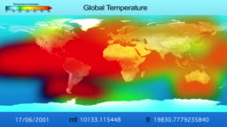World map with changing global temperatures for different years. Global Warming Concept