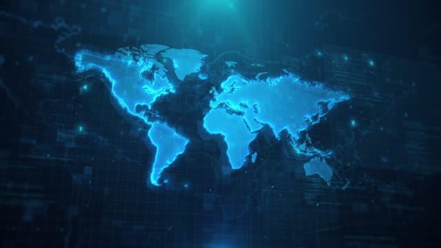 vídeos y material grabado en eventos de stock de mapa mundial con países y continentes contra fondo animado azul 4k uhd - europa continente