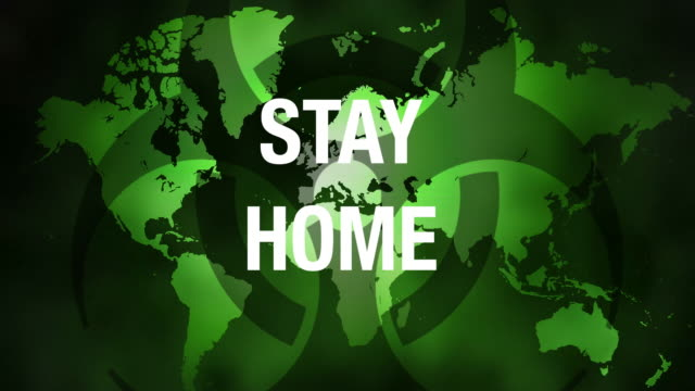 vidéos et rushes de carte du monde avec un message stay home croissant. - rester à la maison expression