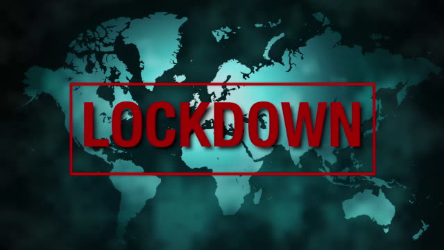 world map with lockdown message - stay at home order stock videos & royalty-free footage