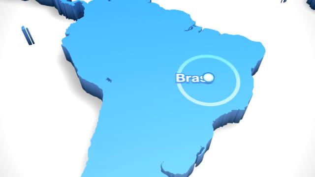 vídeos de stock, filmes e b-roll de 3 d mapa-múndi com zoom brasil 1 - amazonas state brazil
