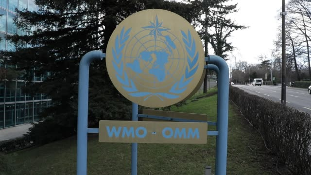 world meteorological organization sign at the entrance of the headquarters on february 18 2020 in geneva switzerland - world politics stock videos & royalty-free footage