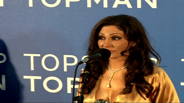 Celebrity red carpet arrivals and interviews / Winners room interviews Elissa wearing gold dress interview SOT On being proud to have won and being a...