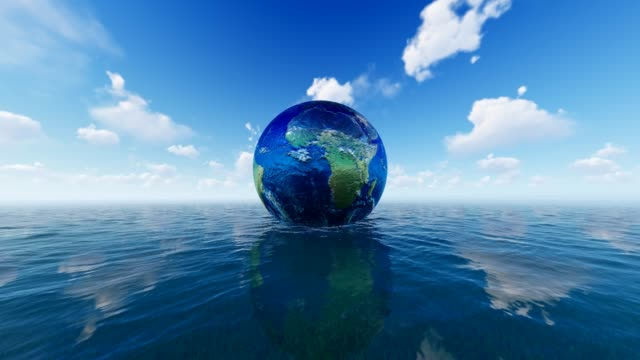 world on blue sea background for world water day - responsibility stock videos & royalty-free footage
