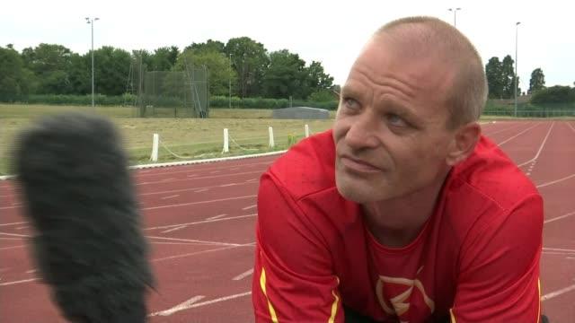 Wheelchair racing heats underway Essex Harlow Athletics Club Andy Bracey interview SOT Reporter to camera
