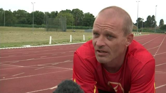 Wheelchair racing heats underway Essex Harlow Athletics Club Andy Bracey interview SOT