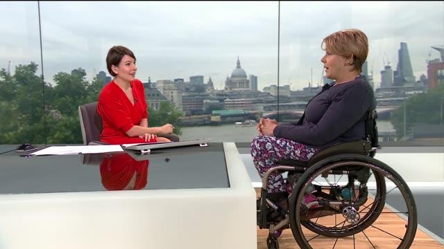 World Para Athletics championships success in London ENGLAND London GIR INT Baroness Tanni GreyThompson LIVE STUDIO interview SOT
