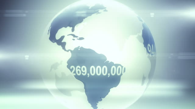 world population (blue version) - population explosion stock videos & royalty-free footage