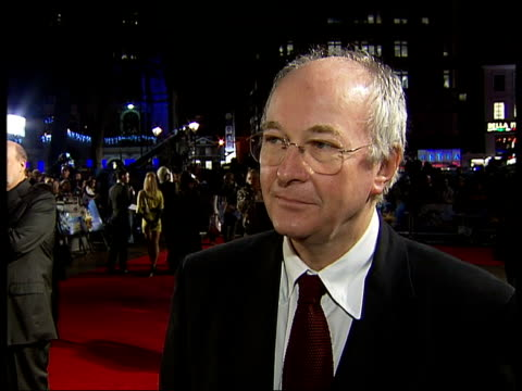 world premiere of 'the golden compass' in london's leicester square; pullman interview sot - says it's extraordinary to have his book transformed... - storyteller stock videos & royalty-free footage