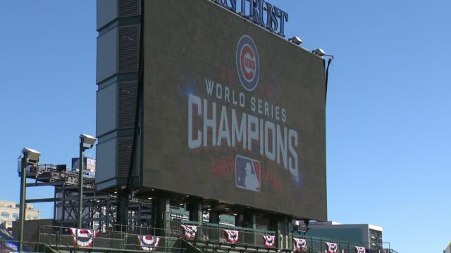 world series champions sign inside wrigley field on day of cubs parad on nov. 4, 2016. - baseball world series stock videos & royalty-free footage