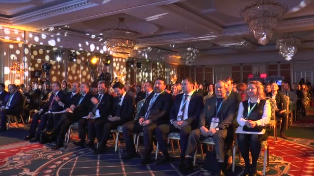 vídeos de stock, filmes e b-roll de world tourism forum of russian summit is held at the ritzcarlton hotel in moscow russia on january 28 2017 turkish ambassador to moscow huseyin... - ritz carlton hotel