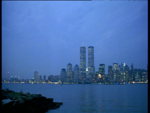 world trade center at night, flashing light of light aircraft passes overhead, 1998 - 1998 stock videos and b-roll footage