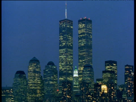 world trade center at night, manhattan, 1998 - 1998 stock videos and b-roll footage