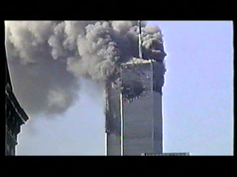 World Trade Center burning after terrorist attack on September 11 2001 in New York New York