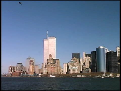 world trade center, manhattan, nyc (push) august 2001 from boat - september 11 2001 attacks stock videos & royalty-free footage