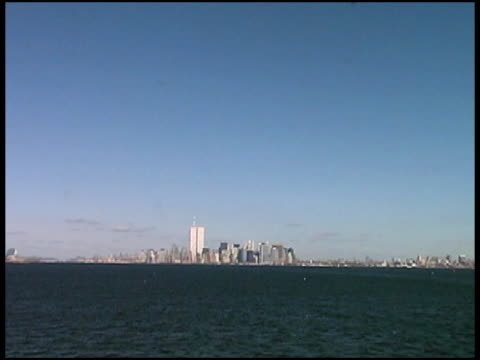 world trade center, manhattan, nyc (distant-push) august 2001 from boat - 2001 stock videos and b-roll footage