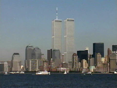 world trade center, new york skyline from harbor - 2001 stock videos and b-roll footage