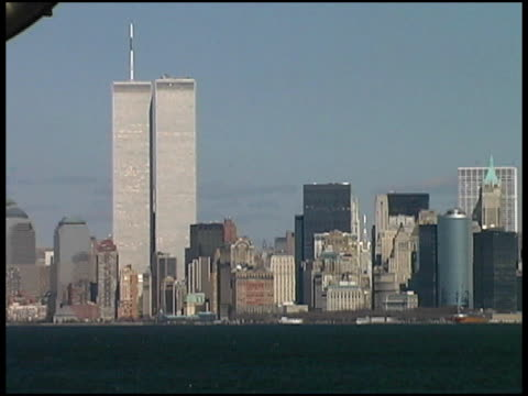 world trade center, nyc (medium, right) august 2001 from boat - september 11 2001 attacks stock videos & royalty-free footage
