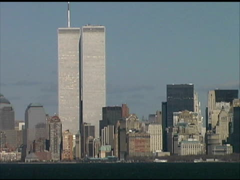 world trade center, nyc (med-close) august 2001 from boat - september 11 2001 attacks stock videos & royalty-free footage