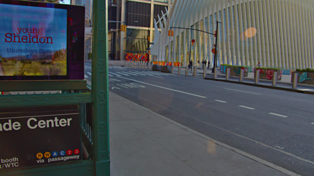 world trade center subway and westfield financial center. urban road. - world trade center manhattan stock videos & royalty-free footage