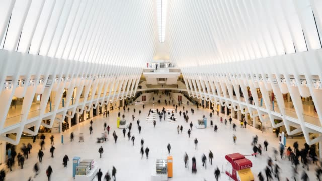 t/l ws world trade center transportation hub / new york city, usa - crowd of people stock videos & royalty-free footage