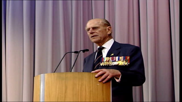 60th anniversary of vj day: prince philip speech at the imperial war museum; england: london: imperial war museum: int prince philip, duke of... - anniversary stock videos & royalty-free footage