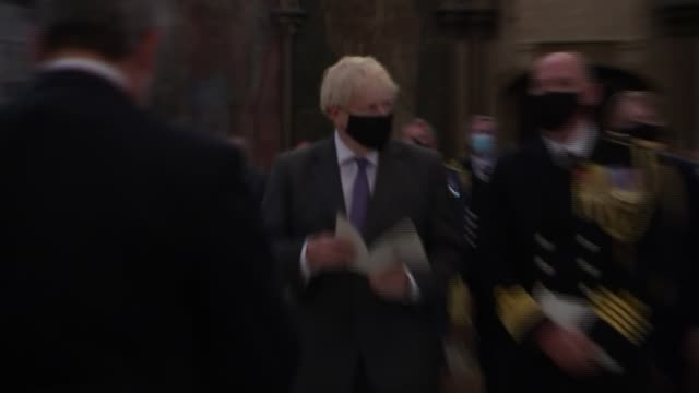 battle of britain 80th anniversary: westminster abbey service - second camera; england: london: westminster abbey: int boris johnson mp approaching... - war and conflict stock videos & royalty-free footage