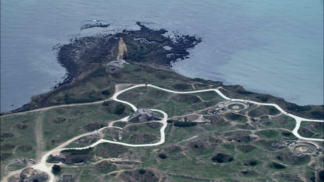 world war 2 bunkers at point du hoc  - aerial view - lower normandy, france - d day stock videos and b-roll footage