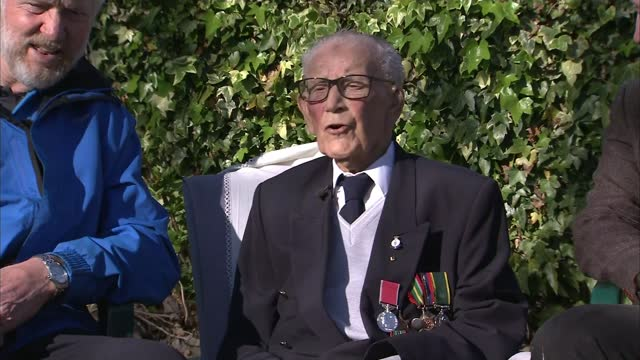 world war 2 veteran receives spitfire flyover to celebrate his charity work; england: sunderland: ext spitfire plane flying overhead len gibson... - war and conflict stock videos & royalty-free footage