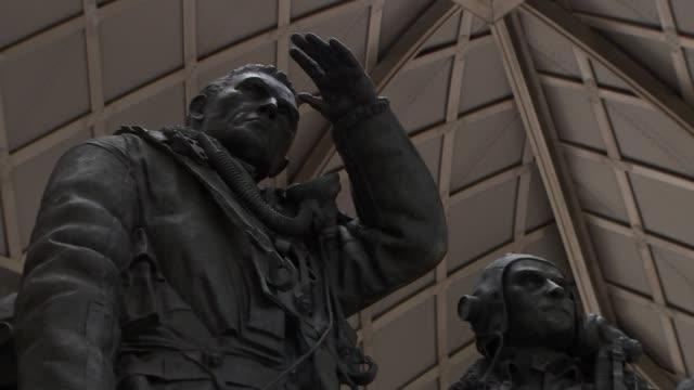 World War 75th anniversary of Dambusters Raid memorial ENGLAND London Green Park RAF Bomber Command Memorial GVs RAF Bomber Command Memorial with...