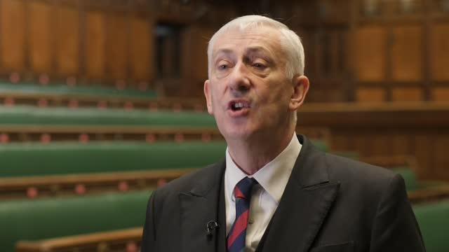 world war bombing of parliament anniversary remembrance; england: london: westminster: houses of parliament: int lindsay hoyle mp interview sot - イングランド南東部点の映像素材/bロール