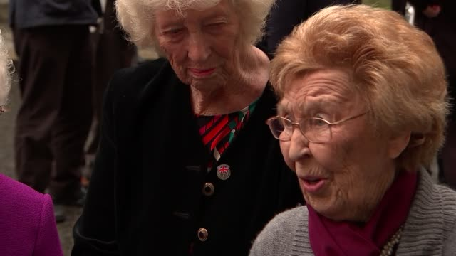 World War 'Canary Girls' who worked in munitions factories visit Downing Street London Downing Street EXT Nancy Preece interview SOT