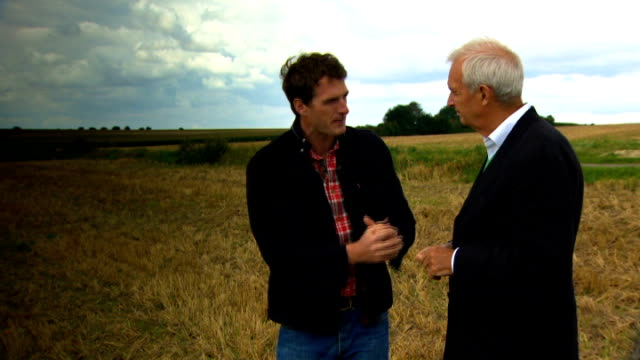 world war i anniversary of 'the retreat from mons' dan snow sot cutaway field pan field jon snow sot vegetation and trees in background dan snow sot... - jon snow journalist stock-videos und b-roll-filmmaterial