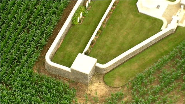 air views of world war one sites air views aerials small cemeteries in no man's land check names frankfurt trench munich trench redan ridge no 3... - erster weltkrieg stock-videos und b-roll-filmmaterial