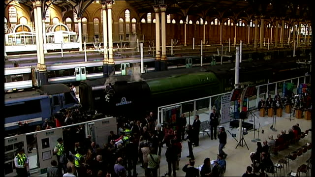 70th anniversary Sir Nicholas Winton ENGLAND London Liverpool Street Station INT High angle views of steam train named 'The Winton Train' arriving at...
