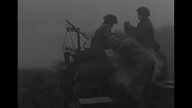 vídeos de stock, filmes e b-roll de world war ii / american convoy rides through bombed and burning town / traffic jam as british field marshal bernard montgomery meets up with... - bernard l. montgomery