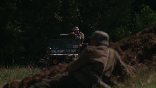 wgn world war ii battle reenactment in lockport illinois on september 12 2015 - battle reenactment stock videos & royalty-free footage