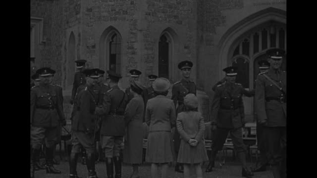 world war ii / britain's princess elizabeth's 16th birthday she reviews a regiment of grenadier guards at the windsor castle quadrangle / princess... - princess elizabeth stock videos and b-roll footage