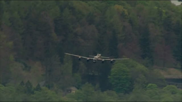 dambusters 70th annivesary flypast aerials air views aerials lancaster bomber flypast/ tornado fighters flypast/ - lancaster bomber stock videos & royalty-free footage