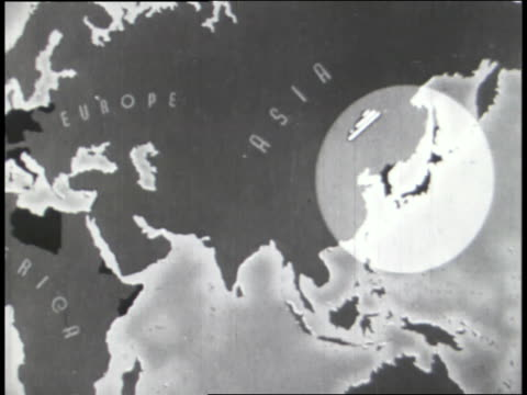 world war ii dictators meet while trouble spots on a world map are highlighted. - world war ii stock-videos und b-roll-filmmaterial