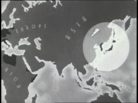 world war ii dictators meet while trouble spots on a world map are highlighted. - 天皇点の映像素材/bロール