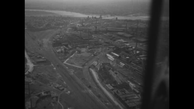world war ii / european theater / germany / aerials destruction in duisburg - ruhr stock videos & royalty-free footage