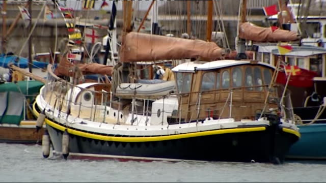 eve of dunkirk anniversary ramsgate parade england ramsgate kent ext small ships moored in harbour area - ramsgate stock videos and b-roll footage