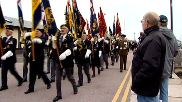 eve of dunkirk anniversary ramsgate parade military bands and dunkirk veterans march along sea front during parade sot - ramsgate stock videos & royalty-free footage
