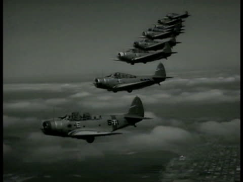 world war ii fighter planes flying in line-formation . men examining landing gear coming down from raised airplane. man in group pointing & talking. - fighter stock videos & royalty-free footage