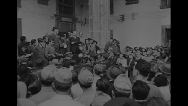 world war ii / ls large crowd of italian men / printed sign in italian / handwritten sign in italian / cu count carlo sforza former italian foreign... - anti fascism stock videos & royalty-free footage