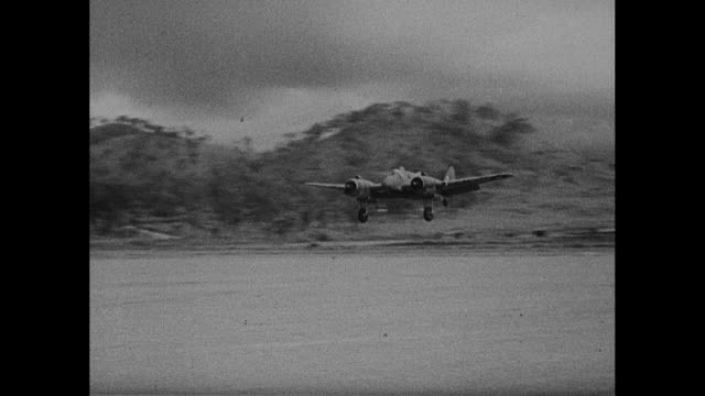 world war ii / pacific theater / group of american fighter planes returning to base for refueling / pilot opening cockpit hatch / men handling plane... - pacific war stock videos and b-roll footage