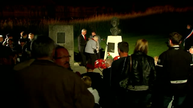 world war ii pegasus bridge vigil at glider pilot memorial and fireworks france normandy ext / night ***beware david cameron mp along to microphone... - pegasus stock videos & royalty-free footage