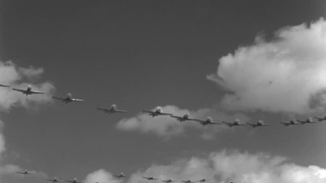 world war ii trainer airplanes fly in three rows. - 1943 stock videos & royalty-free footage