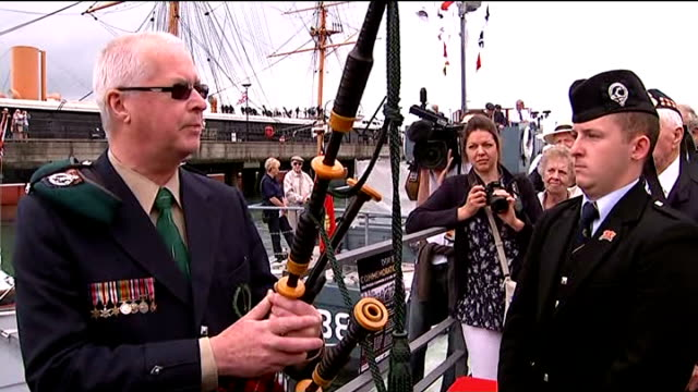 world war ii: veterans mark 70th anniversary of d-day landings; portsmouth: ext john millin playing bagpipes sot john millin addressing veterans sot... - anniversary stock videos & royalty-free footage